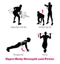 Exercise physical muscle silhouette set vector