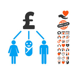 family pound budget icon with valentine bonus vector image