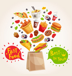 Fast food advertising composition vector