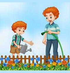 Father nad son watering garden vector