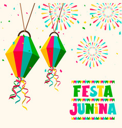 festa junina party card balloons and fireworks vector image