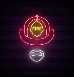 fireman in helmet glowing neon sign vector image