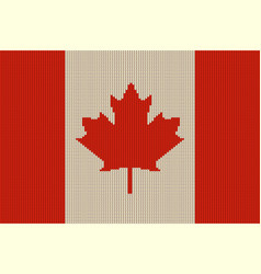flag of canada on knitted woolen texture vector image