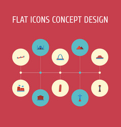 Flat icons china courthouse great pyramid and vector
