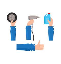 flat man hand holding items set vector image