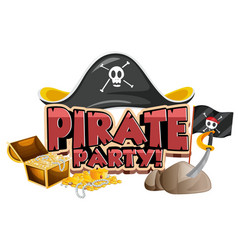 Font design for word pirate party with hat and vector