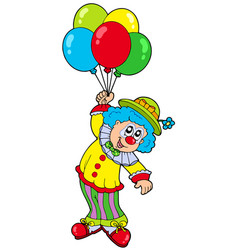 funny smiling clown with balloons vector image