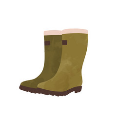 Green rubber boots watercolor graphic vector