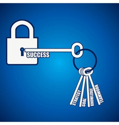 Group of keys required for open a success lock vector image