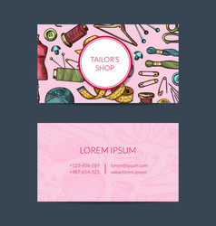 hand drawn sewing elements card template vector image