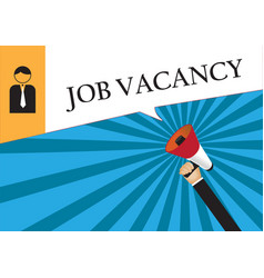 Hand holding megaphone to speech - job vacancy vector