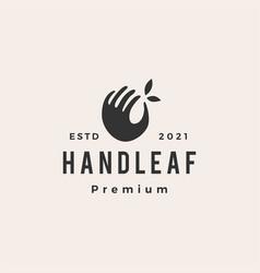 Hand leaf hipster vintage logo icon vector