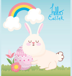 happy easter cute rabbit with flowers and egg vector image