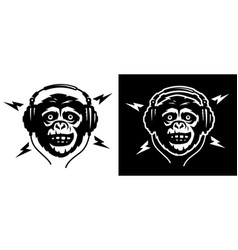 head a monkey with headphoneson a light and vector image