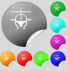 Helicopter icon sign Set of eight multi colored vector