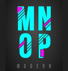 letter font modern design set letters m n o vector image