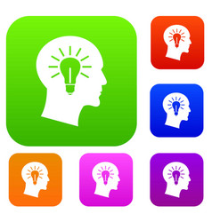 light bulb inside head set collection vector image