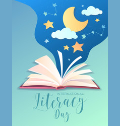 literacy day poster design with open book vector image
