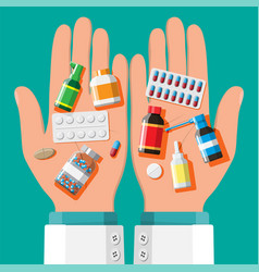 medicine collection in hands vector image