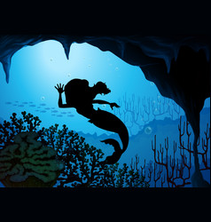 Mermaid underwater silhouette scene vector