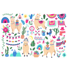 mexican cute llamas llama and peruvian alpaca vector image