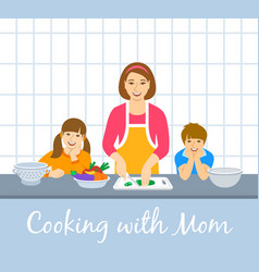 Mom with kids cooking dinner together in kitchen vector