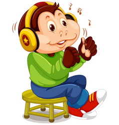 monkey listening to music vector image