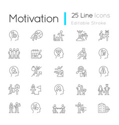 Motivation linear icons set vector
