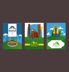 mountain peak flyer banner for hike business vector image