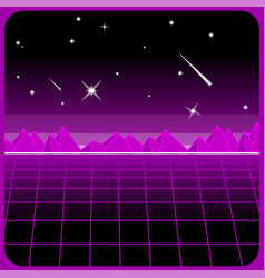 mountains 80s desert cyber lansdcape with vector image