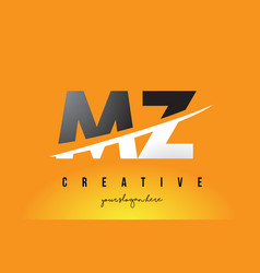Mz m z letter modern logo design with yellow vector