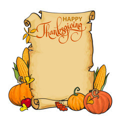 old paper scroll with happy thanksgiving vector image