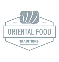 Oriental food logo simple gray style vector