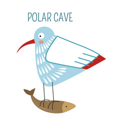 polar cave bird flying away with fish in claws vector image