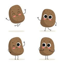 Potato Cute vegetable character set isolated on vector