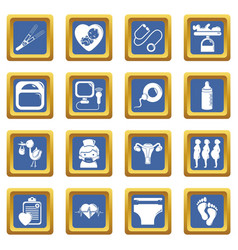 Pregnancy icons set blue square vector