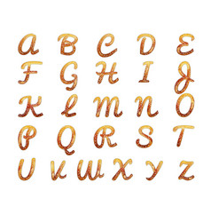 Pretzel alphabet letters isolated on white vector