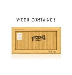 rectangular wooden industrial box mockup vector image