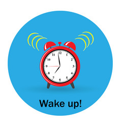 red alarm clock wake-up time vector image