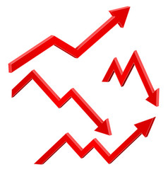 red financial up and down moving arrows rising vector image