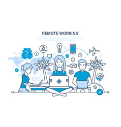 Remote working freelancer information technology vector