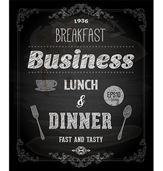 Restaurant Poster on Chalk Board vector