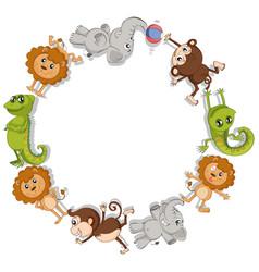 Round border with wild animals vector