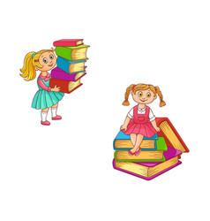 schoolgirls with books set little kids holding vector image