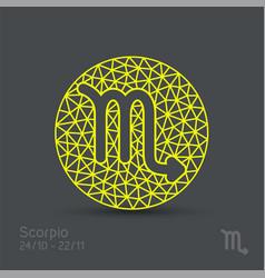 Scorpio zodiac sign in circular frame vector