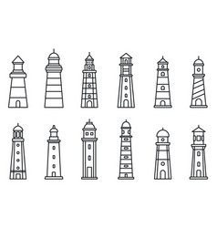 sea lighthouse icon set outline style vector image