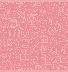 Seamless pattern with love symbols in line style vector