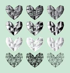 Set black-white hearts vector