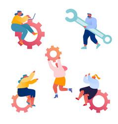 set businesspeople and cogwheel mechanism vector image