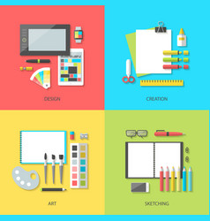 set of bright square banners design and art vector image